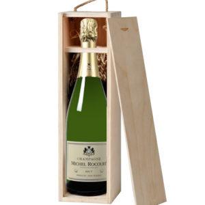 Champagne Brut 1er Cru Michel Rocourt v dřevěné krabici