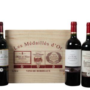Les Medailles d'Or de Bordeaux v luxusní dřevěné krabici