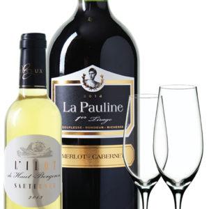 Sauternes l'Ilot de Haut-Bergeron + 2 křišťálové sklenice na šampaňské + Magnum La Pauline 1er Tirage