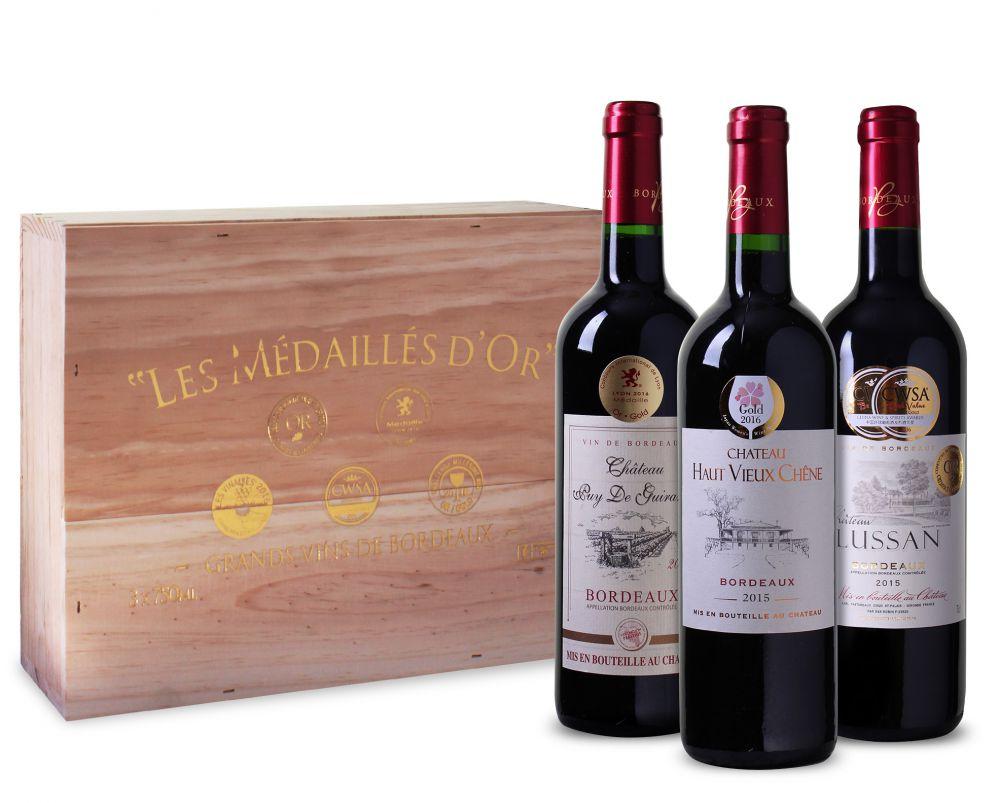 """Ochutnávkový balíček """"Les Medailles d'Or de Bordeaux v luxusní dřevěné krabici"""" (3ks)"""